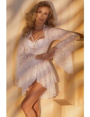 Robe feminino curto branco todo em renda Bride
